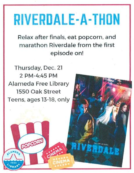 Riverdale marathon at the library after finals